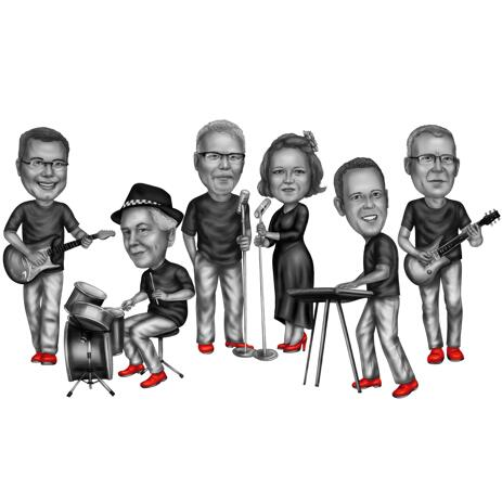 Group Caricature as Musical Band in Black and White Style - example