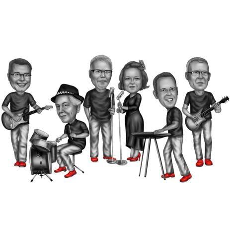 Skupinová karikatura jako hudební skupina v černém a bílém stylu - example