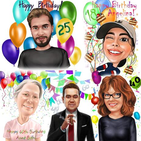 Any Milestone Birthday Caricature in Colored Style - example