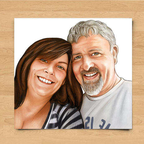 Couple Portrait in Colored Style from Photos as Printed Poster - example