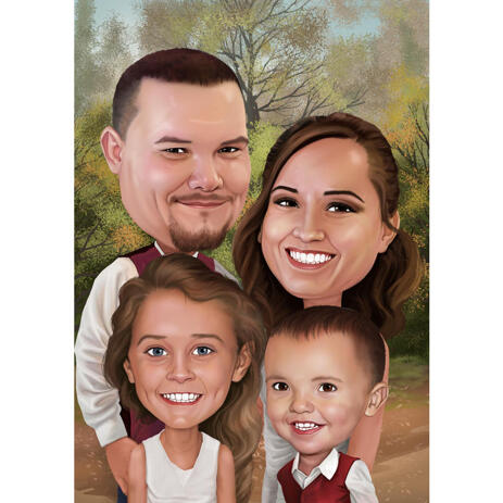Happy Thanksgiving - Custom Family Caricature Card Gift from Photos - example