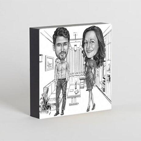 Colleagues Caricature on Photo Block - example