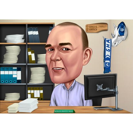 Accountant Caricature from Photo with Office Background - example