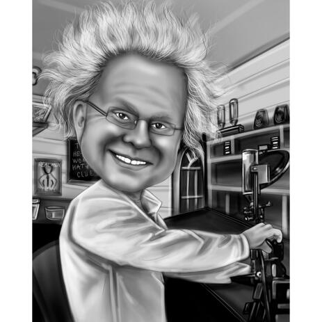 Person Caricature Drawing as Albert Einstein from Photos for Custom Physicist Gift - example
