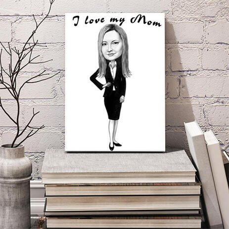 Custom Print on Canvas: Full Body Woman Drawing with Black and White Pencils Style - example