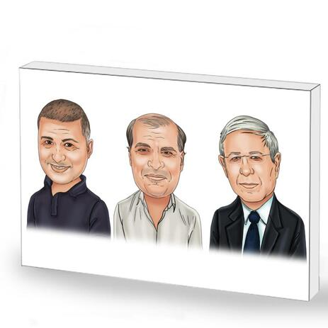 Corporate Group Caricature on Photo Block - example