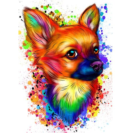 Chihuahua Watercolor Portrait from Photos in Artistic Style - example