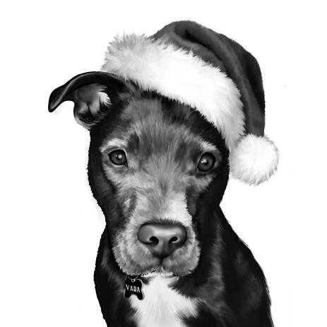 Christmas Dog Caricature from Photos in Black and White Style - example