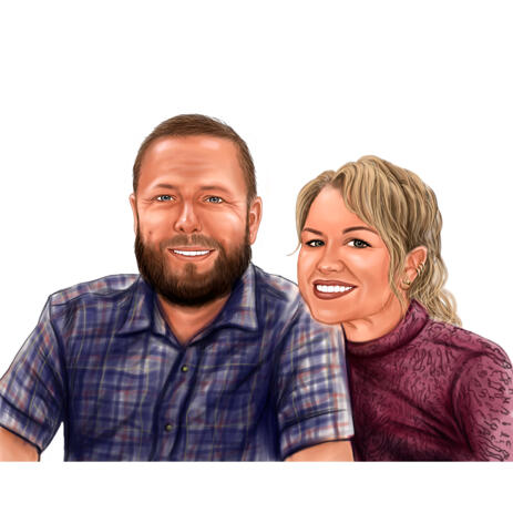 Couple In Love Portrait from Photos in Colored Digital Style - example