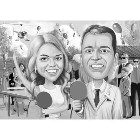 Couple Wedding Cartoon Portrait with Custom Background in Black and White Style - example
