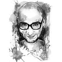Persoon Karikatuurportret van foto's in grafiet-aquarelstijl