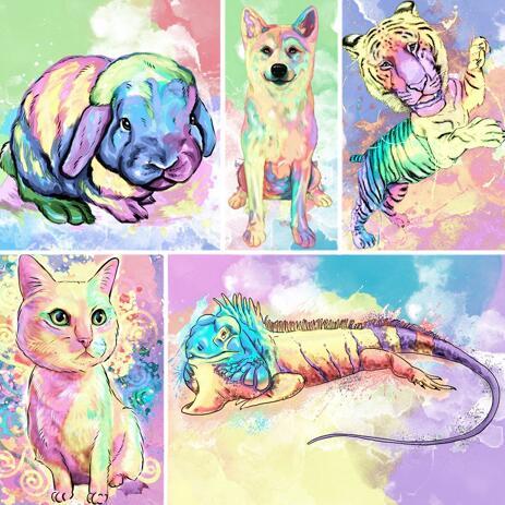 Pastellfärgad akvarellporträtt av något husdjur med bakgrund - example