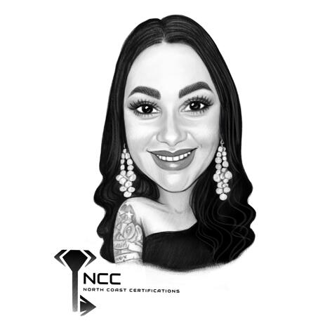 Female Caricature Award from Photos in Black and White Style - example