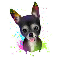 Pet Caricature Portrait from Photo with Rainbow Watercoloring Effect for Pet Lovers Gift