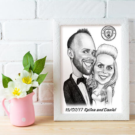 Bride and Groom Caricature on Poster - example