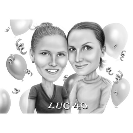 Best Friends Forever Birthday Caricature Drawing for Girls from Photos - example