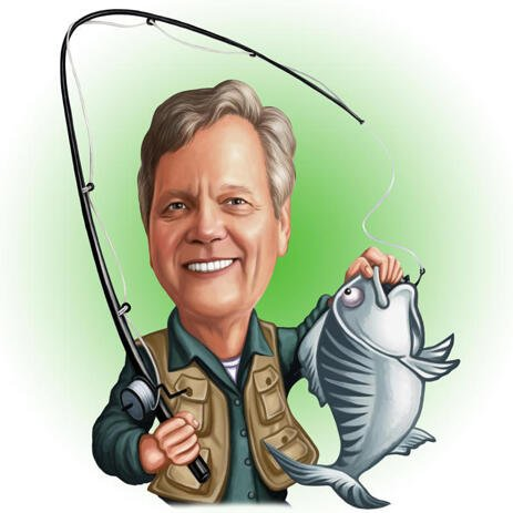 Fisherman Caricature with Fish and Fishing Rod - example