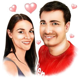 Couple Portrait Cartoon for Anniversary or Valentines Day Gift
