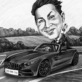 Henkilö autossa - hauska luonnos karikatyyri mustavalkoisissa lyijykynissä