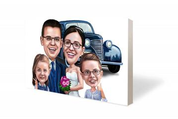 Wedding Couple with Guests Canvas Caricature
