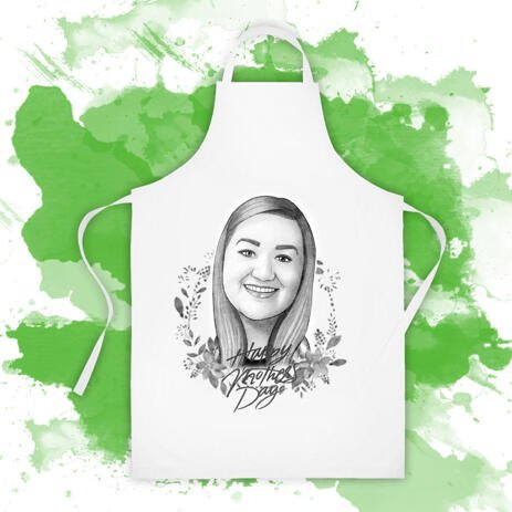 Print on Apron: Custom Cartoon Drawing from Photo for Mother's Day Gift - example